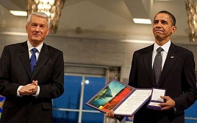 Nobel Committee Chairman Thorbjorn Jagland presents Then-US president Barack Obama with the Nobel Prize medal and diploma during the Nobel Peace Prize ceremony in Raadhuset Main Hall at Oslo City Hall in Oslo, Norway, December 10, 2009. (Official White House Photo by Samantha Appleton)