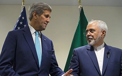 Then US secretary of state John Kerry, left, meets with Iranian Foreign Minister Mohammad Javad Zarif at United Nations headquarters on September 26, 2015. (AP/Craig Ruttle)