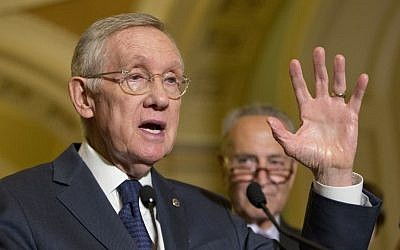 Senate Minority Leader Harry Reid of Nevada speaks to reporters on Capitol Hill in Washington, Wednesday, September 9, 2015. (Pablo Martinez Monsivais/AP)