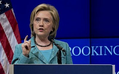 Democratic presidential candidate Hillary Rodham Clinton speaks about the Iran nuclear agreement at the Brookings Institution in Washington, DC, on September 9, 2015. (AP/Carolyn Kaster)