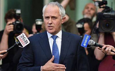 Former Australian Liberal Party leader and Communications Minister Malcolm Turnbull speaks to the media that he asked Prime Minister Tony Abbott to open up the party's leadership to an internal vote at Parliament House in Canberra, Monday, Sept. 14, 2015.  (Lukas Coch/AAP Image via AP)