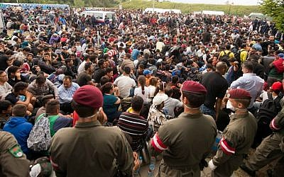 Migrants queue up for buses after they arrived at the border between Austria and Hungary near Heiligenkreuz, about 180 kilometers (110 miles) south of Vienna, Austria, Saturday, Sept. 19, 2015.  (AP/Christian Bruna)