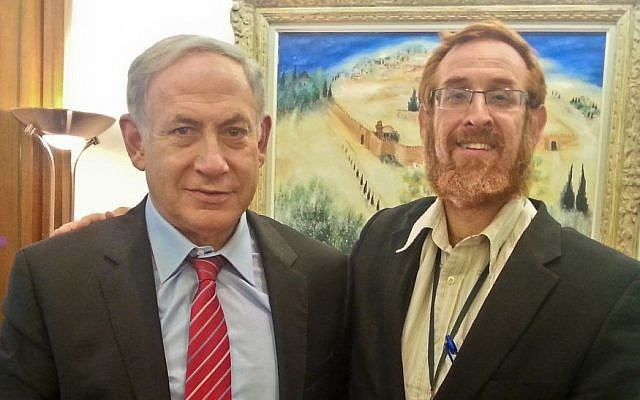 Temple Mount activist Yehuda Glick, No. 33 on the Likud list, with Prime Minister Benjamin Netanyahu on August 19, 2015. (Courtesy: Yehuda Glick)