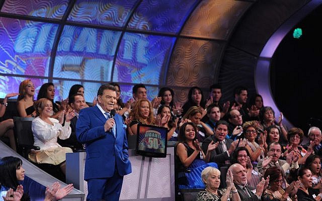 """Don Francisco celebrating on air the 50th anniversary of """"Sabado Gigante"""" in 2013. (Courtesy of Univision/JTA)"""
