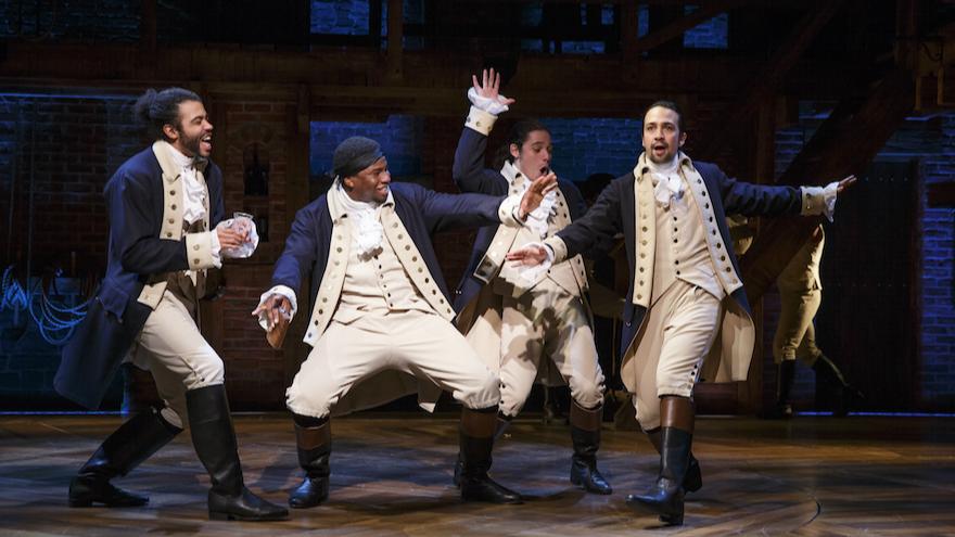 A scene from 'Hamilton.' From left, Daveed Diggs, Okieriete Onaodowan, Anthony Ramos and Lin-Manuel Miranda. (Joan Marcus/via JTA)