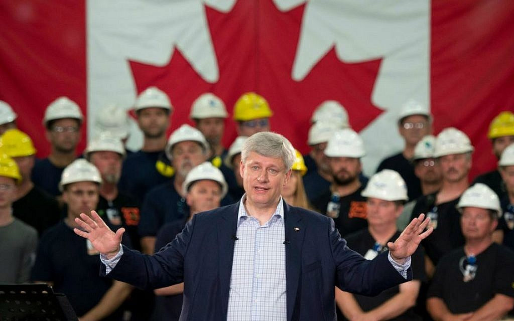 In this Tuesday, Sept. 1, 2015 file photo, Prime Minister Stephen Harper speaks during a campaign stop at a steel manufacturer in Burlington, Ontario, Canada. (Adrian Wyld/The Canadian Press via AP)