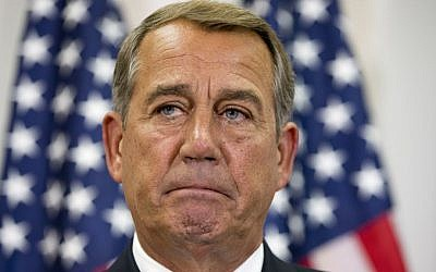 Speaker of the House John Boehner of Ohio, pauses while speaking about his opposition to the Iran deal during a news conference with members of the House Republican leadership on Capitol Hill in Washington on September 9, 2015. (AP/Jacquelyn Martin)