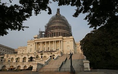 The west front of the US Capitol is seen under repair September 2, 2015 in Washington (AP Photo/Alex Brandon)