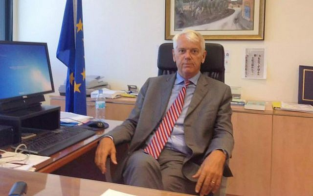 The EU ambassador to Israel, Lars Faaborg-Andersen, in his Ramat Gan office, September 21, 2015 (Raphael Ahren/Times of Israel)