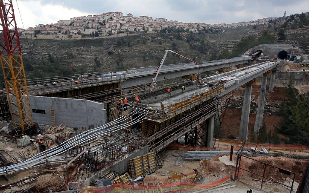 A view of the tunnels and bridges under construction along the route of the express train between Tel Aviv and Jerusalem, on February 6, 2014. (Yossi Zamir/Flash90)