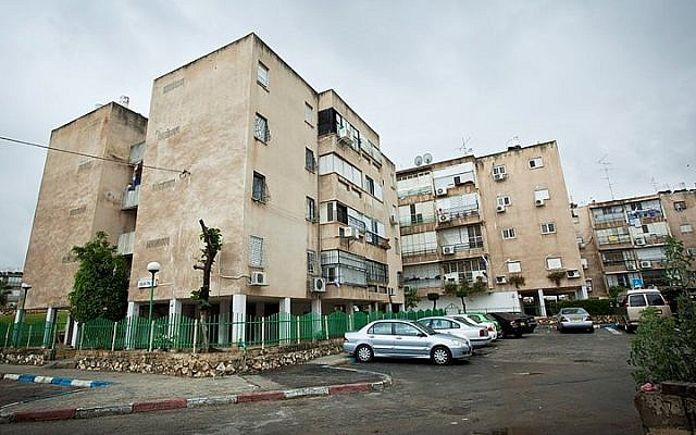 View of residential buildings, in the central Israeli town of Lod. (Moshe Shai/FLASH90)