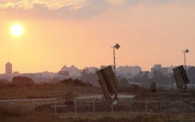 An Iron Dome Missile Defense battery deployed near the southern Israeli city of Ashdod, July 21, 2014.  (Miriam Alster/Flash90)