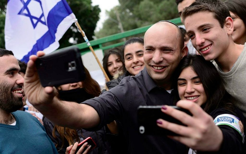 Education Minister Naftali Bennett (center) imposed mandatory classes in tolerance for the start of the new school year in September 2015, hoping to offset the responses and violence of the summer. (Tomer Neuberg/Flash90)
