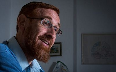 Temple Mount activist Yehudah Glick at his home in Jerusalem, March 12, 2015 (Miriam Alster/Flash90)