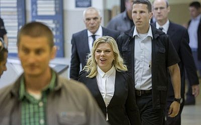 Sara Netanyahu arrives to testify at the Menny Naftali trial at the Jerusalem Labor Court on May 10, 2015. (Yonatan Sindel/Flash90)
