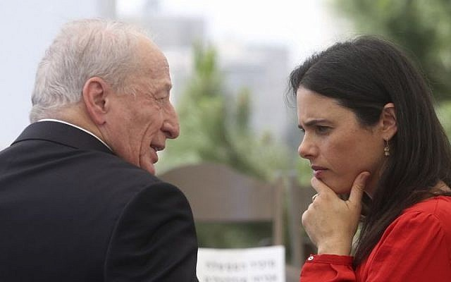 Justice Minister Ayelet Shaked, right, and Attorney General Yehuda Weinstein, Jerusalem, May 19, 2015. (Marc Israel Sellem/Flash90)