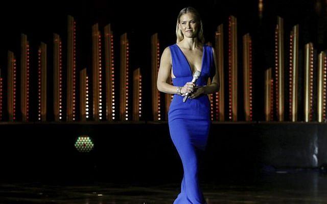 Israeli model Bar Refaeli in Jerusalem, June 18, 2015 (Marc Israel Sellem/Pool)