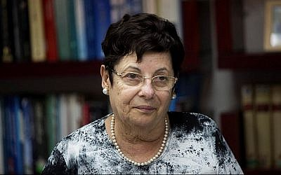 Supreme Court President Justice Miriam Naor seen at the first meeting of the Israeli Judicial Selection Committee at the Ministry of Justice in Jerusalem on August 9, 2015. (Yonatan Sindel/Flash 90)