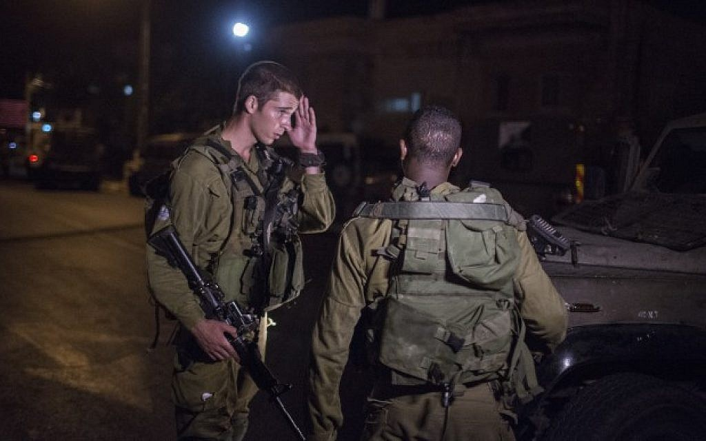 Illustrative photo of IDF soldiers at a military post in Beit Jala, outside Jerusalem. (Hadas Parush/Flash90)