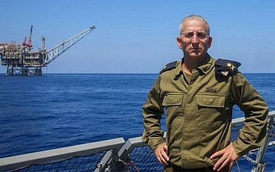 Navy chief Admiral Ram Rotberg poses for a picture near the Tamar gas processing rig 24 kilometers off Israel's southern coast on September 2, 2015. (Flash90)