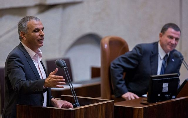 Finance Minister Moshe Kahlon addresses the Knesset on September 2, 2015, during the state budget vote for 2015-2016. (Photo by Yonatan Sindel/Flash90)