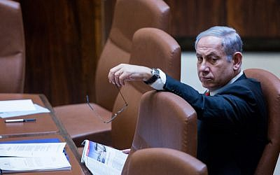 Prime Minister Benjamin Netanyahu seen at the Knesset on September 2, 2015 (Yonatan Sindel/Flash90)