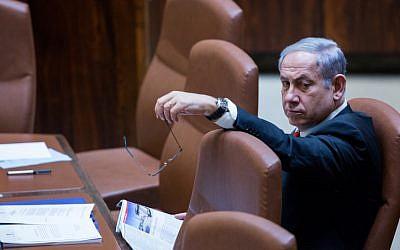Prime Minister Benjamin Netanyahu seen at the Knesset on September 2, 2015 (Yonatan Sindel/Flash90)