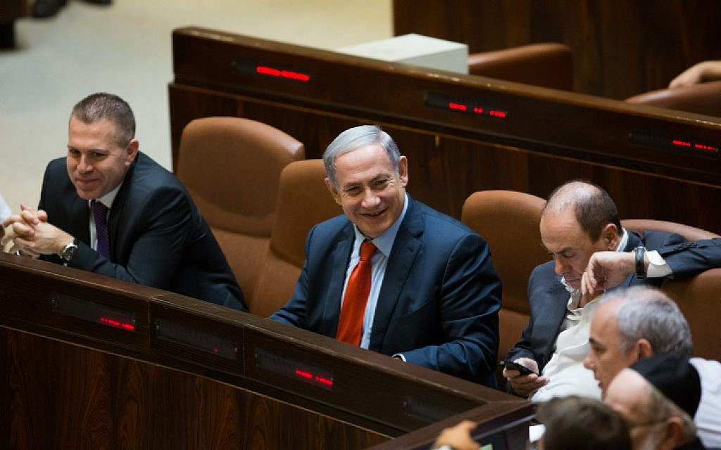 Prime Minister Benjamin Netanyahu seen during a plenum session and vote on the reform of Israel's natural gas sector in the assembly hall of the Israeli parliament in Jerusalem on September 7, 2015. (Yonatan Sindel/Flash90)
