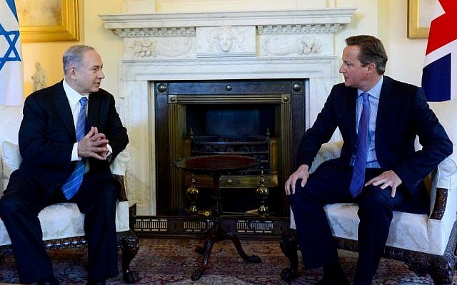 Prime Minister Benjamin Netanyahu meets with British Prime Minister David Cameron, at 10 Downing Street, on September 10, 2015. (Photo by Avi Ohayon/GPO)