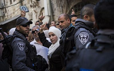 Palestinian Muslim women protest against police preventing them from entering the Al-Aqsa mosque compound in Jerusalem's Old City on September 22, 2015 (Hadas Parush/Flash90)