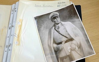 A photograph showing a painting of Goering dating from January 1942 and part of a new catalog is pictured Wednesday, September 30, 2015 outside Paris, France. (AP Photo/Jacques Brinon)