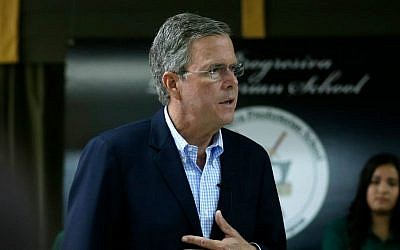 Republican presidential candidate, former Florida Gov. Jeb Bush, responds to a question during a town hall at La Progresiva Presbyterian School, Tuesday, Sept. 1, 2015, in Miami. (AP Photo/Lynne Sladky)