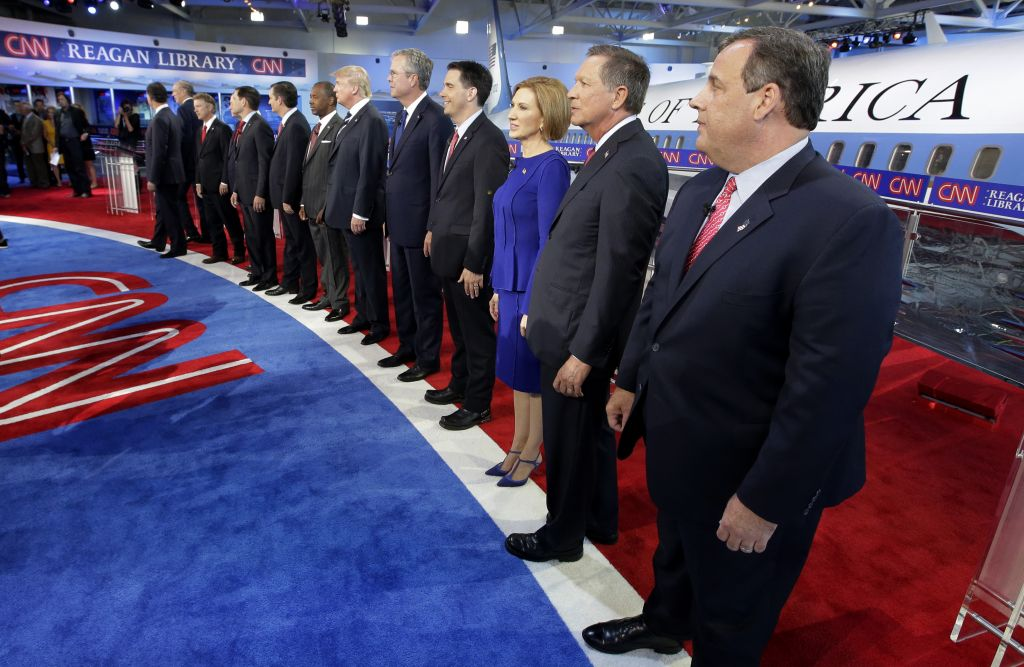 Republican presidential candidates take the stage during the CNN Republican presidential debate at the Ronald Reagan Presidential Library and Museum on Wednesday, Sept. 16, 2015, in Simi Valley, California (AP Photo/Chris Carlson)