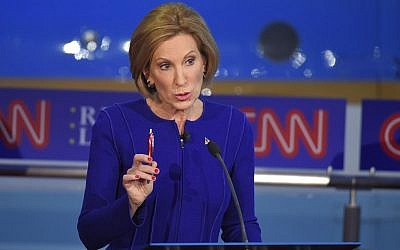 Republican presidential candidate Carly Fiorina makes a point during the CNN Republican presidential debate at the Ronald Reagan Presidential Library and Museum on Wednesday, September 16, 2015, in Simi Valley, California (AP Photo/Mark J. Terrill)