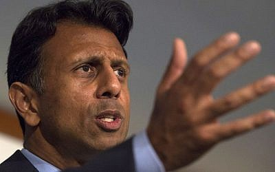Republican presidential candidate Gov. Bobby Jindal speaks at the National Press Club in Washington, DC, September 10, 2015. (AP/Molly Riley)