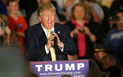 Republican presidential candidate Donald Trump speaks at a town hall event Thursday, Sept. 17, 2015, in Rochester, New Hampshire. (AP Photo/Robert F. Bukaty)