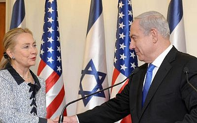 Prime Minister Benjamin Netanyahu meets then-US secretary of state Hillary Clinton at the Prime Minister's Office in Jerusalem, November 20, 2012. (Avi Ohayon/GPO via Getty Images)