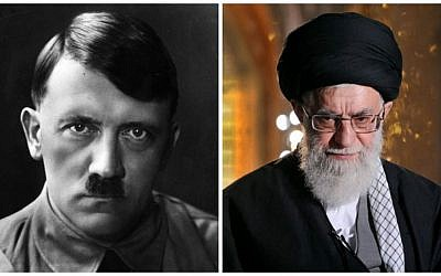 Adolf Hitler (Heinrich Hoffmann/Getty Images/JTA) and  Ali Khamenei (AP Images/JTA)