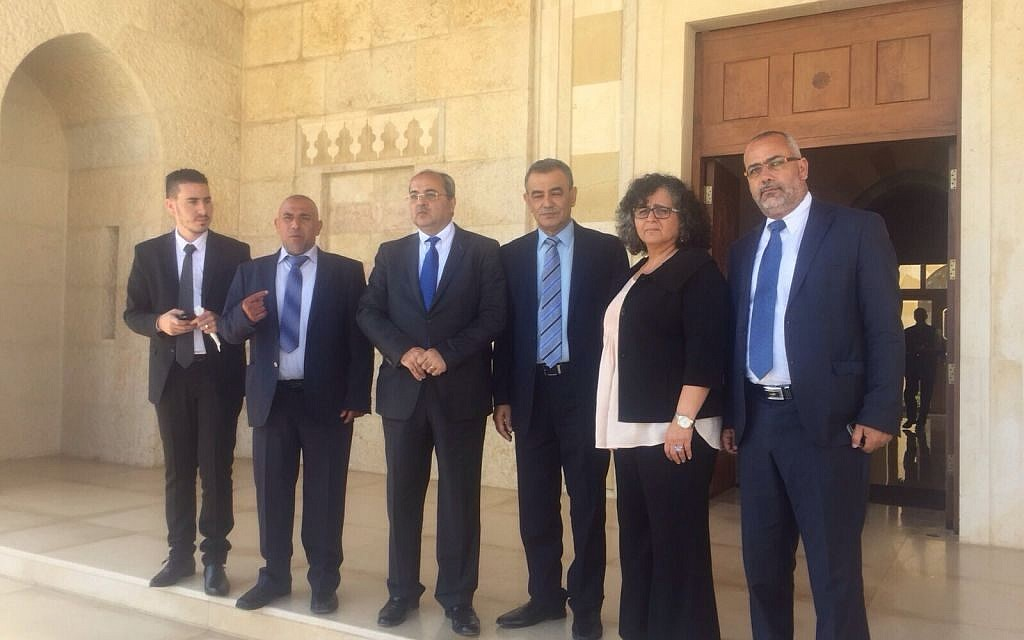 Members of the Joint List Knesset faction in Amman on September 20, 2015. (Courtesy: Joint List)
