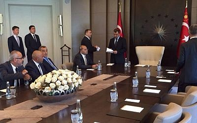 Arab MKs in Istanbul ahead of a meeting with Turkish President Recep Tayyip Erdogan on September 21, 2015. (Joint Arab List)