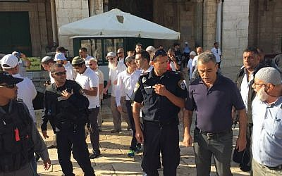 MK Jamal Zahalka (second from right) on the Temple Mount in the Old City of Jerusalem on Tuesday, September 29, 2015 (courtesy Joint List)