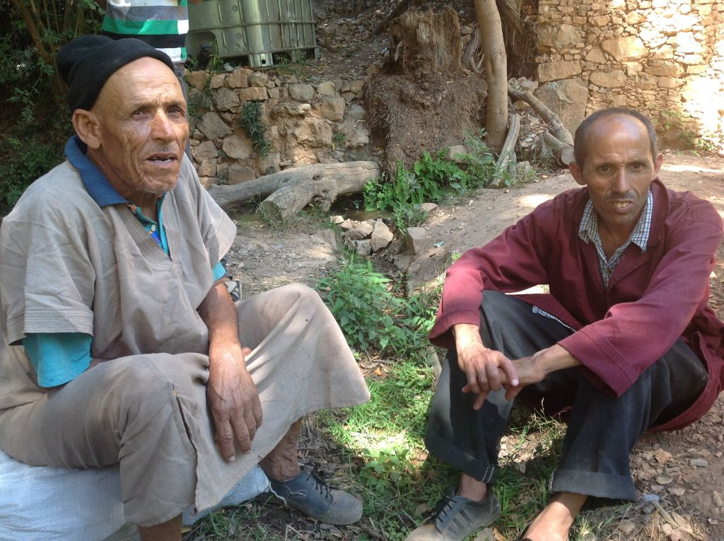 Etrog grower Mohammed Douch, left, with his cousin. (Ben Sales/JTA)