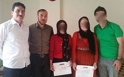 CICY workers with two rescued Yazidi women in July/August 2015. (courtesy)
