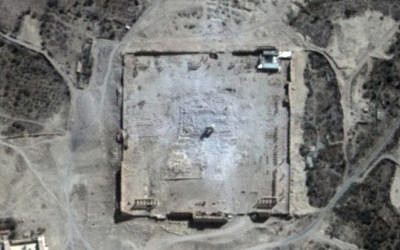 This Monday, August 31, 2015 satellite image provided by UNITAR-UNOSAT shows damage to the main building of the ancient Temple of Bel in the Palmyra, Syria (UrtheCast, UNITAR-UNOSAT via AP)