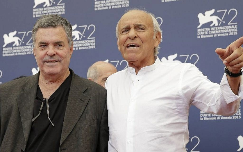 Director Amos Gitai (L) and actor Mordechai Shpiegler at the 72nd edition of the Venice Film Festival in Venice, Italy, Monday, September 7, 2015 (AP Photo/Andrew Medichini)
