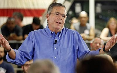 Republican presidential candidate and former Florida governor Jeb Bush a speaks during a campaign stop Thursday, Sept. 3, 2015, in Hampton. New Hampshire. (AP/Jim Cole)