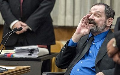 Frazier Glenn Miller yells at the jury after he was found guilty of one count of capital murder, three counts of attempted murder and assault and weapons charges for anti-Jewish shooting attacks in Overland, Kansas. (Allison Long/The Kansas City Star via AP, Pool)