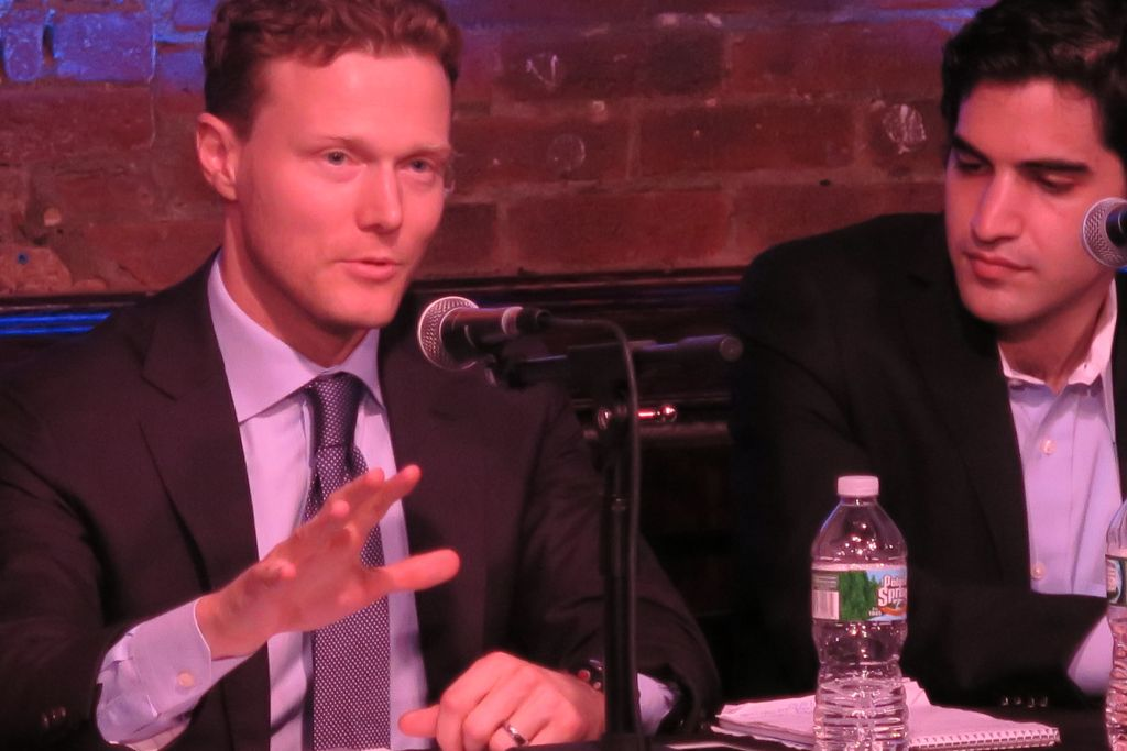 Matthew Kroenig, a professor at Georgetown University and author of a recent book about the Iran deal, argued against the agreement while Harry Enten, a political writer for the news website fivethirtyeight.com, moderated the September 4, 2015 Comedy Cellar debate. (Luke Tress/The Times of Israel)