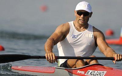 Israel's Michael Kolganov realaxes after winning his Kayak single 500m men heats at the Beijing 2008 Olympics Tuesday, Aug. 19, 2008. (JTA/AP Photo/Kevork Djansezian)