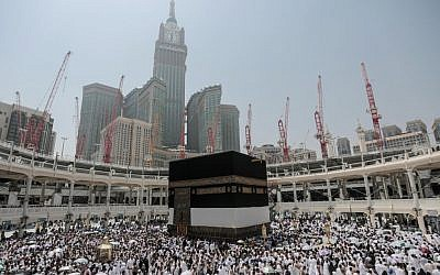 "Muslim pilgrims circle the Kaaba, the cubic building at the Grand Mosque in the Muslim holy city of Mecca, Saudi Arabia, Tuesday, Sept. 22, 2015. In Mecca, the holy site all the world's Muslims pray toward, the annual hajj pilgrimage began Tuesday with over 2 million faithful gathering to call out in Arabic: ""Here I am, God, answering your call. Here I am."" (AP Photo/Mosa'ab Elshamy)"